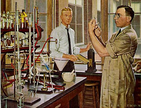 [ Banting and Best in the laboratory where insulin was discovered ]