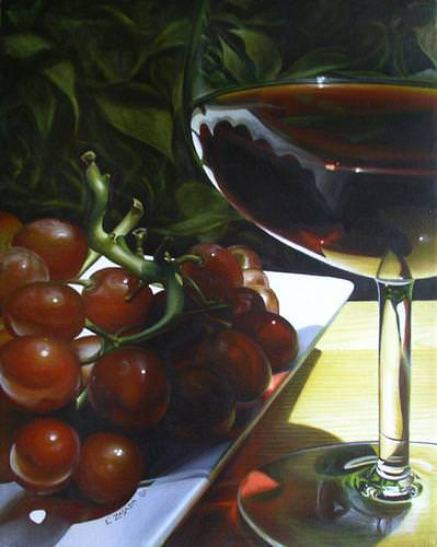 [ Red Wine and Grapes, Emily Zasada ]