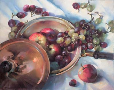 ['Fruit and copper pan' by Owen Rohu ]