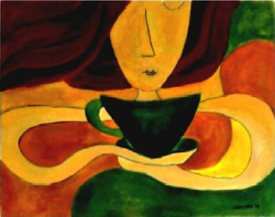 ['<em>'Woman smelling coffee' by Gizem Saka</em>' ]